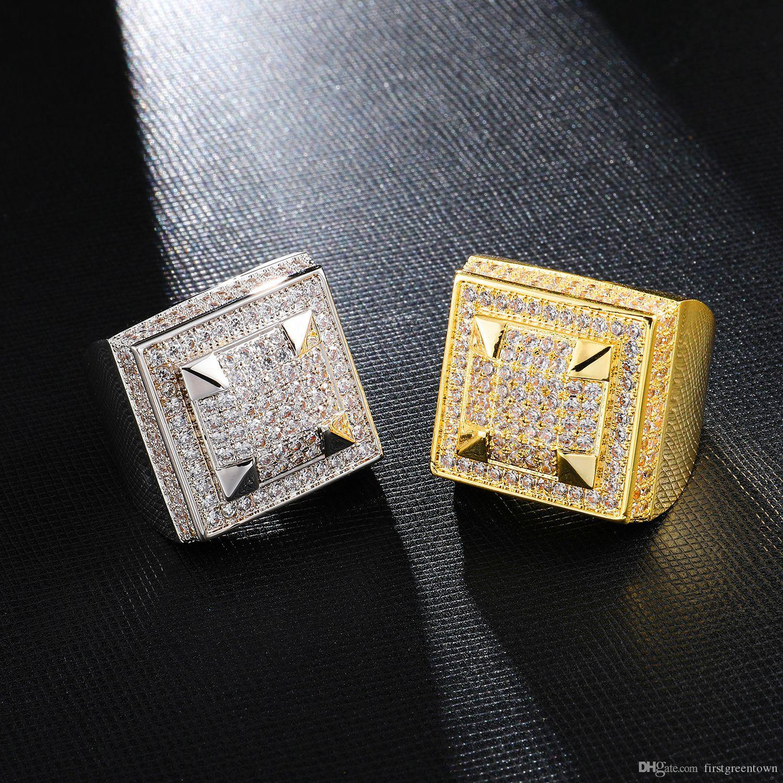 Et l'or 18 carats Argent Trapèze Forme Anneau pour les hommes Hip Hop Copper Ice Out Zircon Bijoux Vente chaude