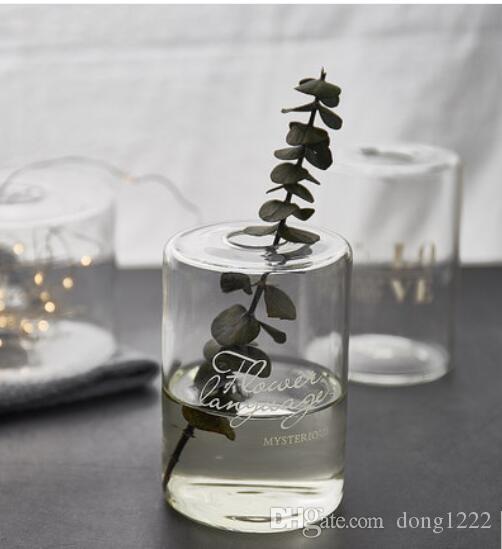 الأوروبي الزجاج زهرية الحلي مستقيم زهرة أسطوانية شفافة زهرة صغيرة الفم ثقافة المياه زهرة الحديث بسيط الفم