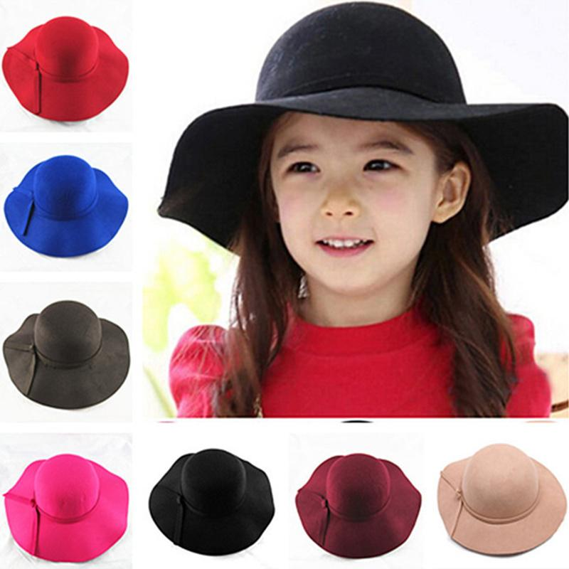 2017 new Vintage Retro Kids Child Boy Girl Hats Fedora polyester Felt Crushable Wide Brim Cloche Floppy Sun Beach Cap D19011103