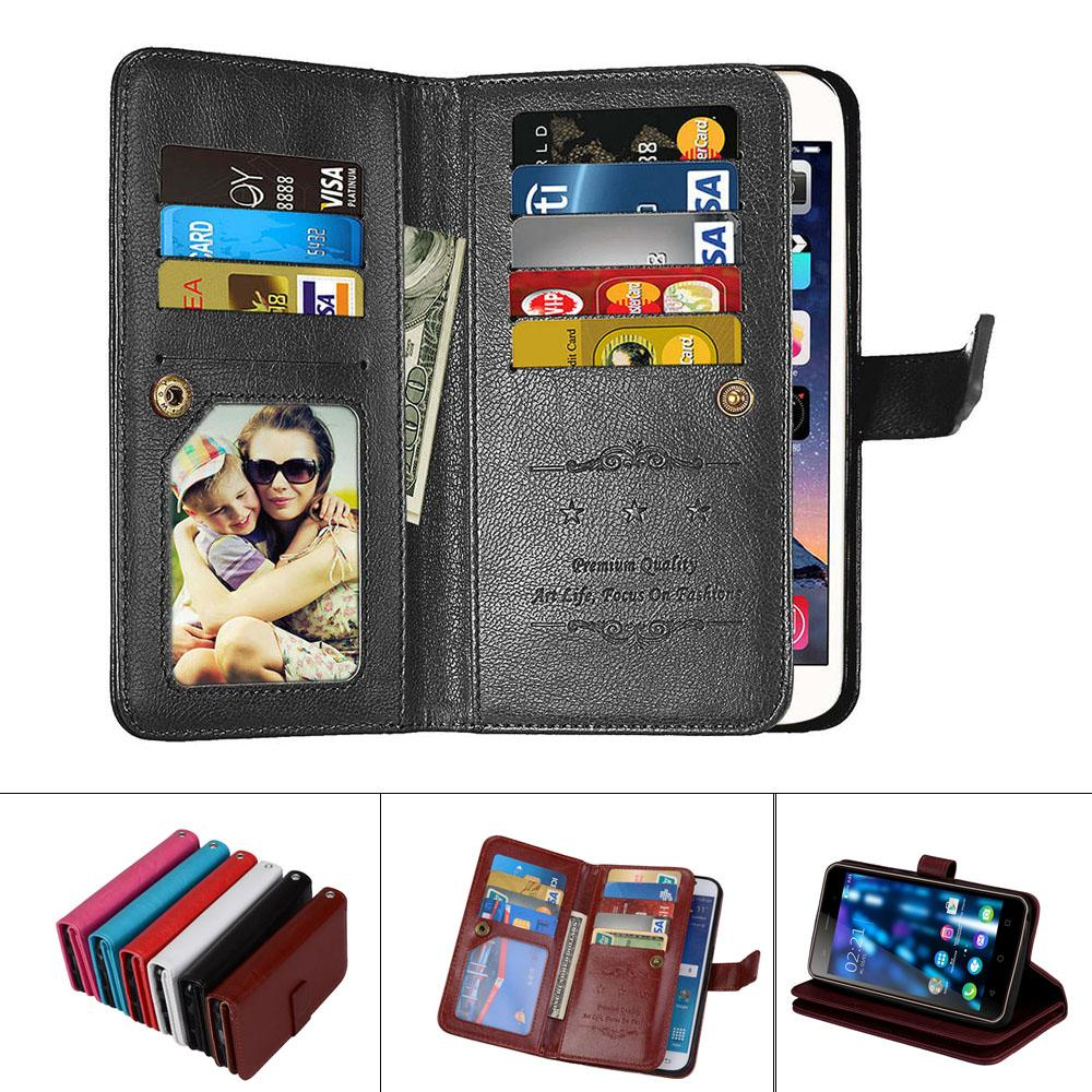 wholesale Leather Magnetic Durable 9 Cards Slots Flip Wallet Case For Xiaomi Redmi Note 3 3s 4 4A 5 5A 5 For Redmi Pro fundas Cover