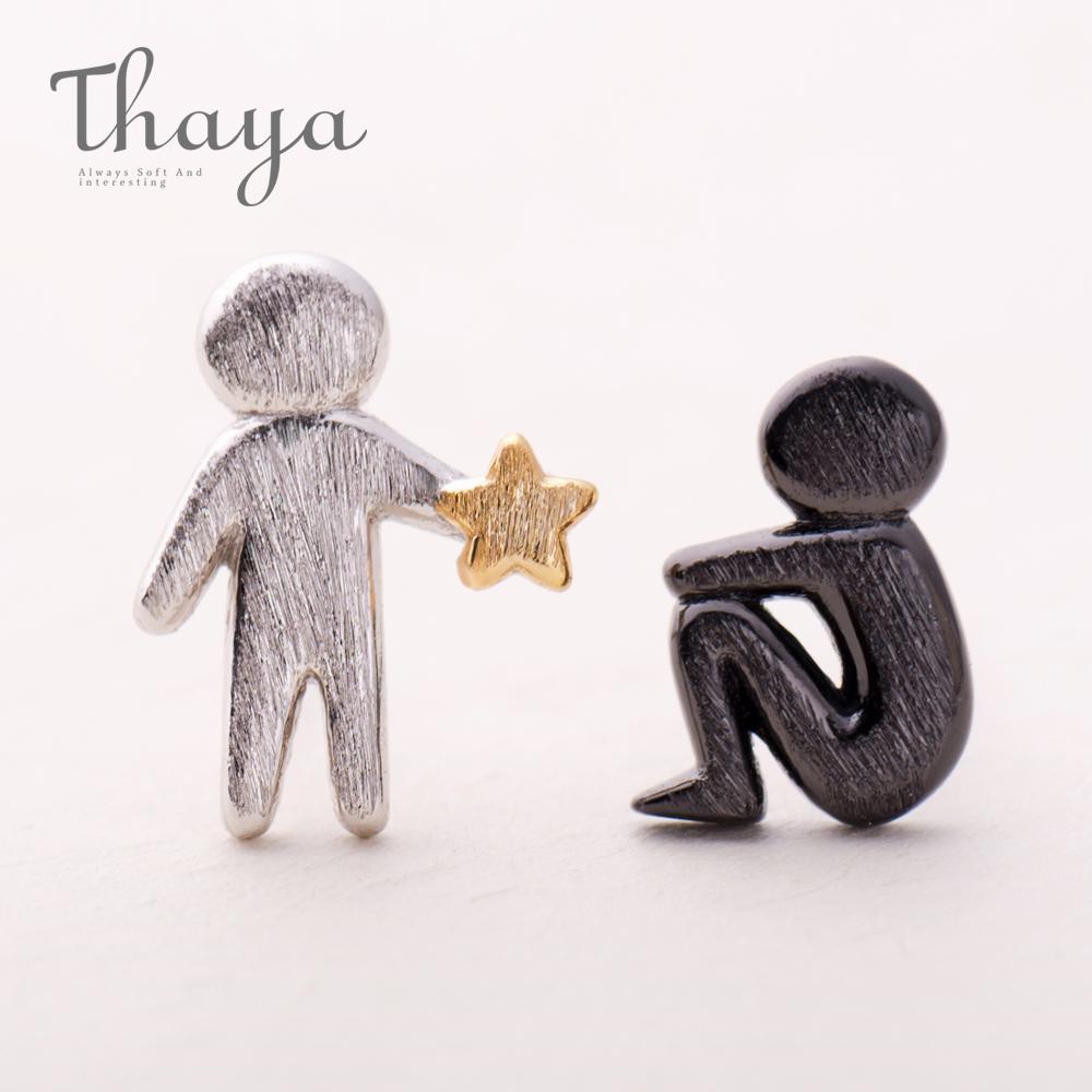 Choisir Thaya Étoiles d'or pour vous concevez Boucles d'oreilles en argent S925 Asymétrie Figure Boucle d'oreille pour les bijoux texture élégante femmes CJ191223