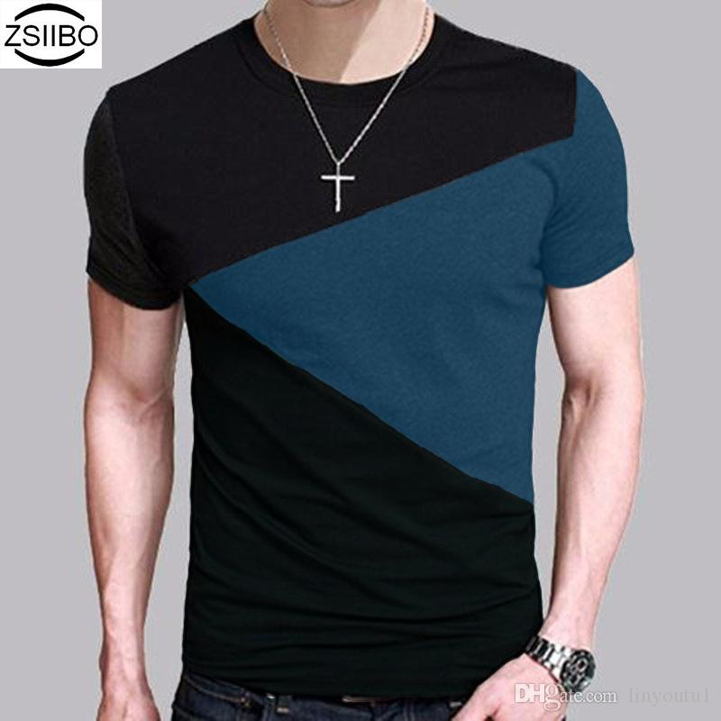 Camiseta coreana de otoño para hombre Estilo vintage Patchwork Blackgray O-cuello Camiseta larga Ropa de hombre 2019 Tallas grandes