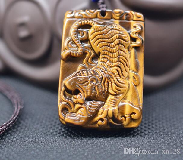 Colar tigre naturais do olho de tigre pendente jade Transferência Sorte jóias com corrente