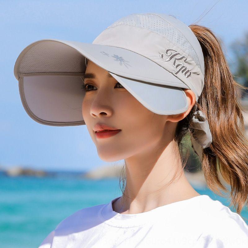 Sun Bicicletta femminile crema solare ciclismo faccia a prova di raggi UV-corsa esterna cappello vuoto del cappello della spiaggia del sole grande bordo