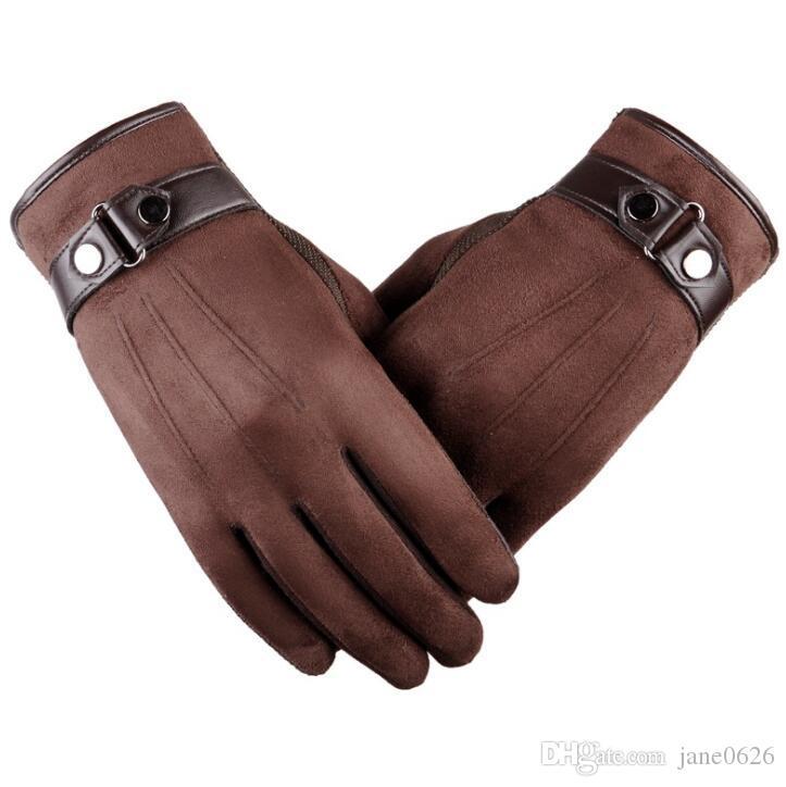 Зима теплая сенсорный экран перчатки замшевая ткань вождения полный палец холодная погода перчатки высокое качество сенсорный экран перчатки