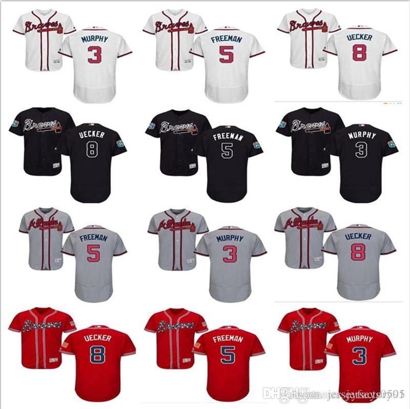 new concept 74367 1fc0d 2019 2018 Custom Men'S Women Youth Majestic Atlanta Braves Jersey #5  Freddie Freeman 8 Bob Uecker 3 Dale Murphy Home Kids Girls Baseball Jer  From ...