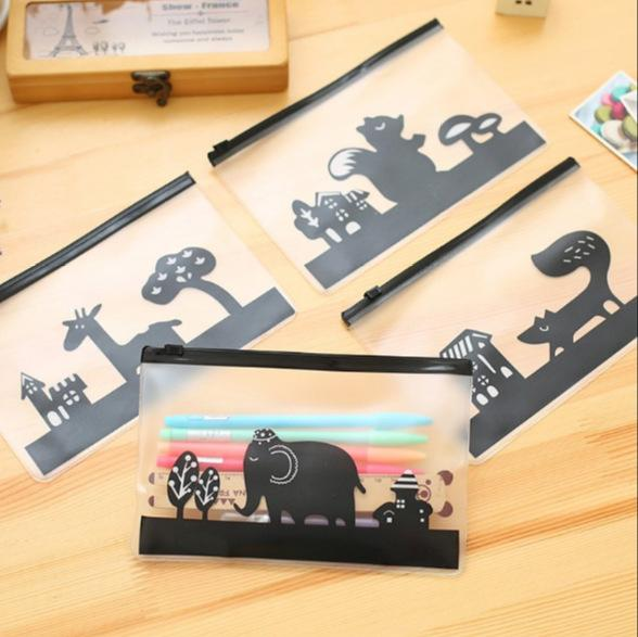 4pcs Transparent PVC Pencil Case Cute Animals Waterproof Pen Bag Holder Stationery Pouch Office School Supplies Estuche Escolar