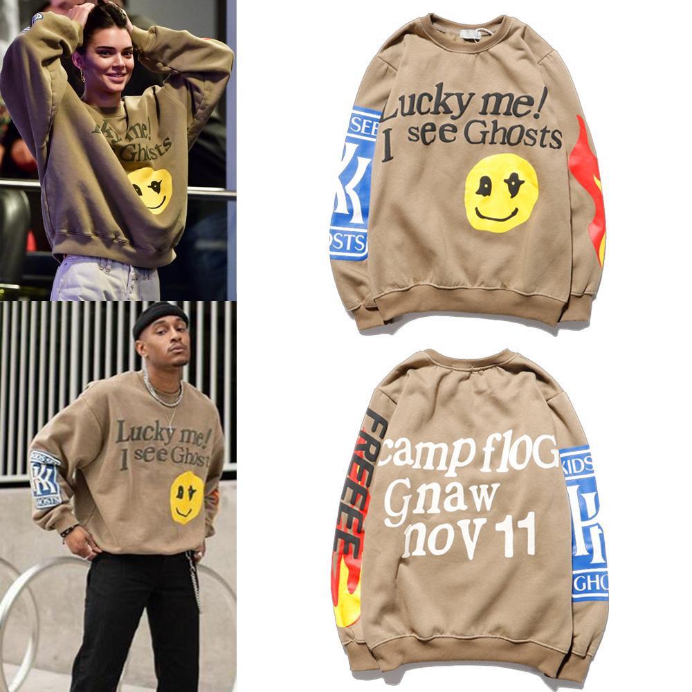 Smiley Alev Baskı Yuvarlak Yaka Kazak Erkekler ve Kadınlar Artı Kadife Streetwear Moda Yüksek Kalite Hoodie Kazak Erkek Kapüşonlular