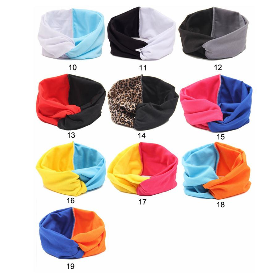 Moda Meninas estiramento torção Headbands Turban Patchwork Cor Hairbands Esporte Yoga Envoltório principal Bandana Headwear acessórios de cabelo presentes RRA2621