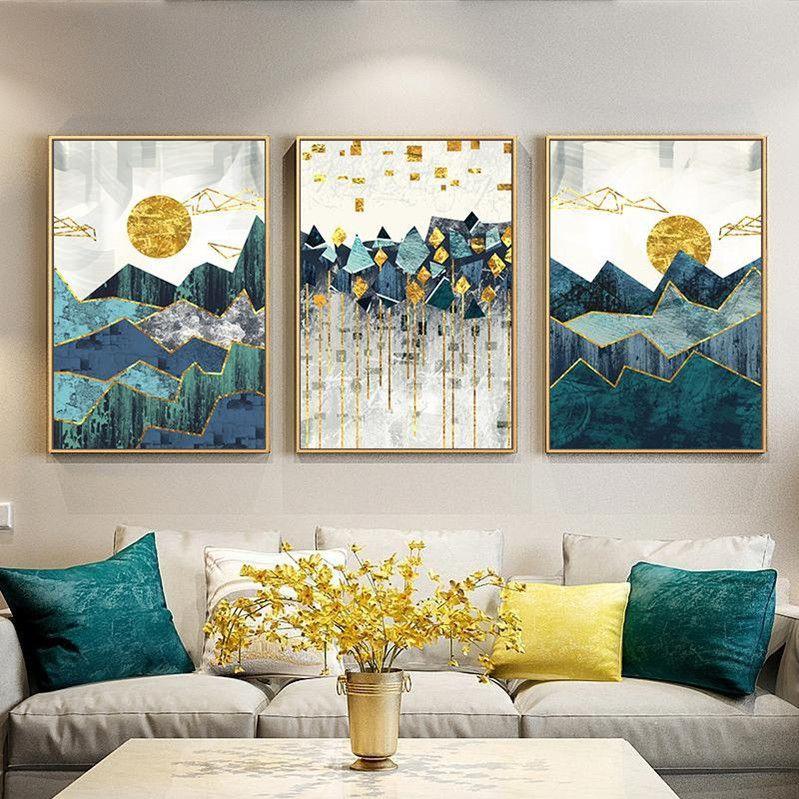 3adet Nordic Özet Geometrik Dağ Manzara Duvar Sanatı Tuval Golden Sun Art Poster Salon Duvar Resmi yazdır Boyama