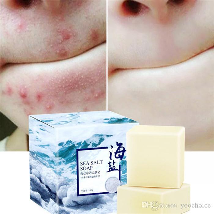 دش البحر 100G الملح اليدوية الطبيعية حليب الماعز الصابون علاج الوجه غسل الصابون الماعز البحر الحليب الملح صابون حمام