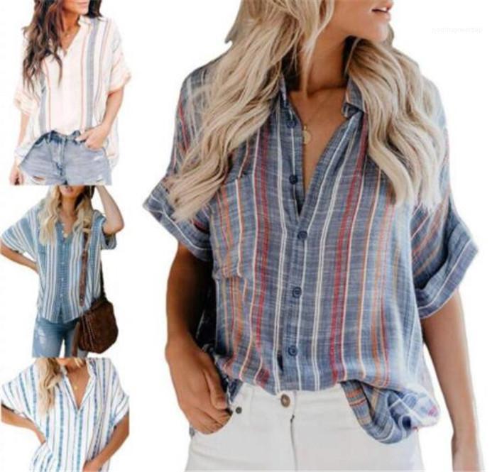 Gündelik Giyim Kadın Yaz Tasarımcı Gömlek Yaka Yaka Kısa Kollu Çizgili Kadın Giyim Moda Stil yazdır