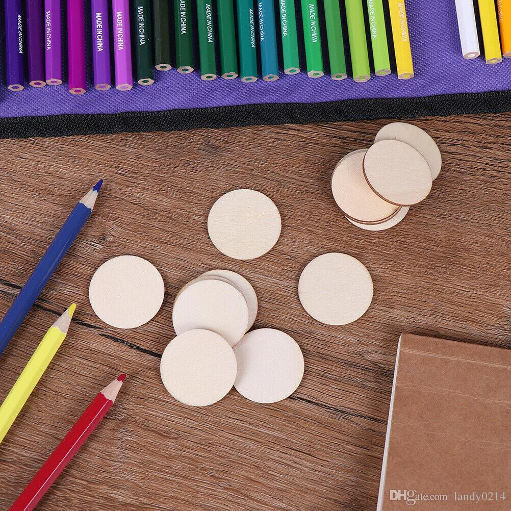 100pcs/lot DIY Natural Blank Wood Pieces Slice Round Unfinished Crafts Wooden Discs free shipping wholesale