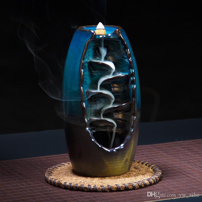 Geri Akış Tütsü Brülör Seramik Aromaterapi Fırın Kokusu Aromatik Ev Ofis HY0001 Içinde