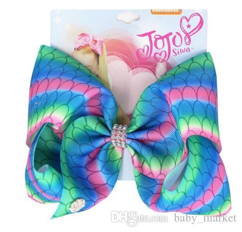 Envío de la gota jojo SWIA arco iris de 8 pulgadas pinza de pelo de la sirena del arco del pelo para niñas pescados hechos a mano Escalas niños bowknot 18pcs Partido del ro