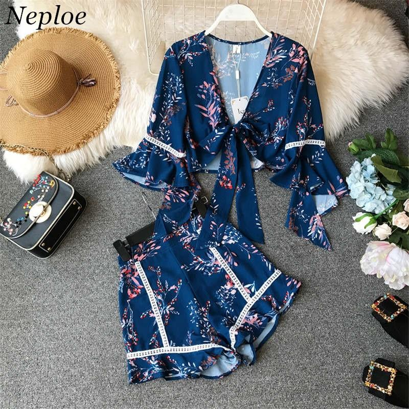 Neploe New 2019 Spring Summer Two Pieces Sets Women Flare Sleeve Lace-up Short Blouses + Shorts Fashion Holidays Suits 80129