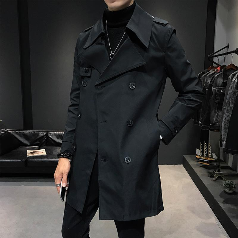 Fashion brand double-breasted men's long jacket army green white black long coat men business casual Trench coats