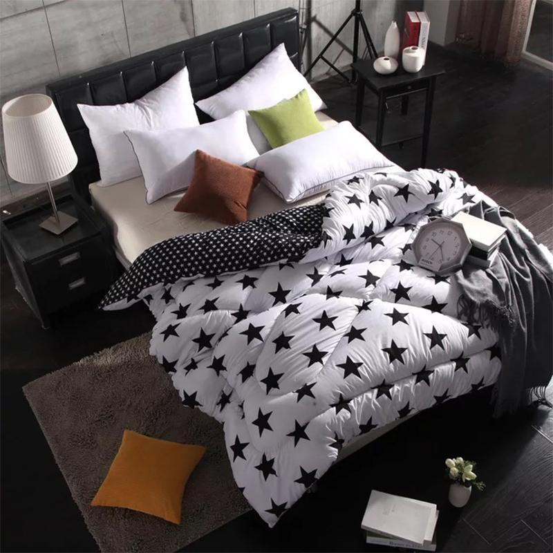 Толстая теплой зима одеяло мода черного белого пододеяльник свадьба студент полного размера утешитель соответствие цвета перо бархат