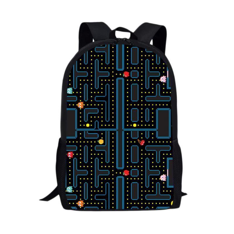 Mochila Moda Karikatür Öğrenci Sırt Çantası Pacman Retro Oyun Çanta Kızlar Seyahat Çantası Gençler Erkek Okul Büyük
