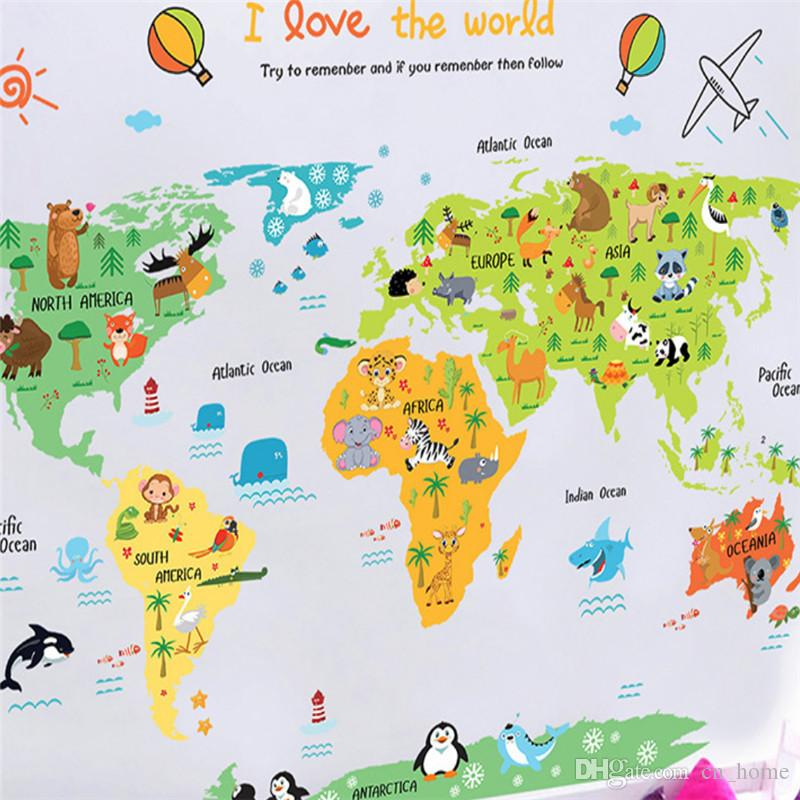 Cartoon Animal World Map Children'S Bedroom Kindergarten Decorative on glider map, statue map, inverted map, glass map, go to the map, palace map, border map, magnetic map, large map, world map, trench map, floor map, desk map, plant map, plate map, atlas map, home map, green map, englewood map, step map,