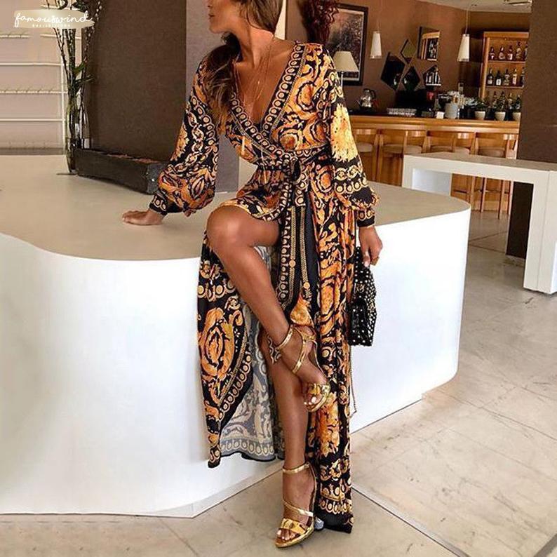 2019 Art-Art- und Frauen Sexy-Boot-Ausschnitt Verein tiefer V-Ausschnitt-Druck-Partei-Kleid-formales lange Kleid reizvolle Funkeln-Wear
