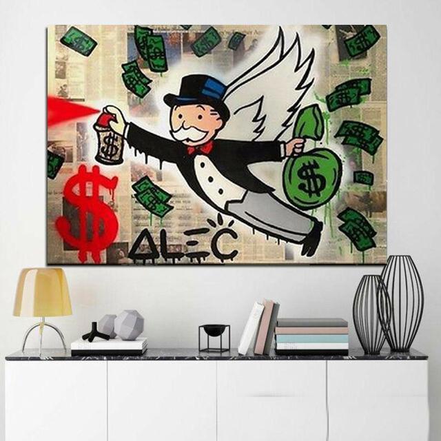 Alec Monopoly Monopoly Flying Graffiti Home Decor pintado a mano de la impresión de HD pintura al óleo sobre lienzo de arte cuadros de la pared de lona 200522