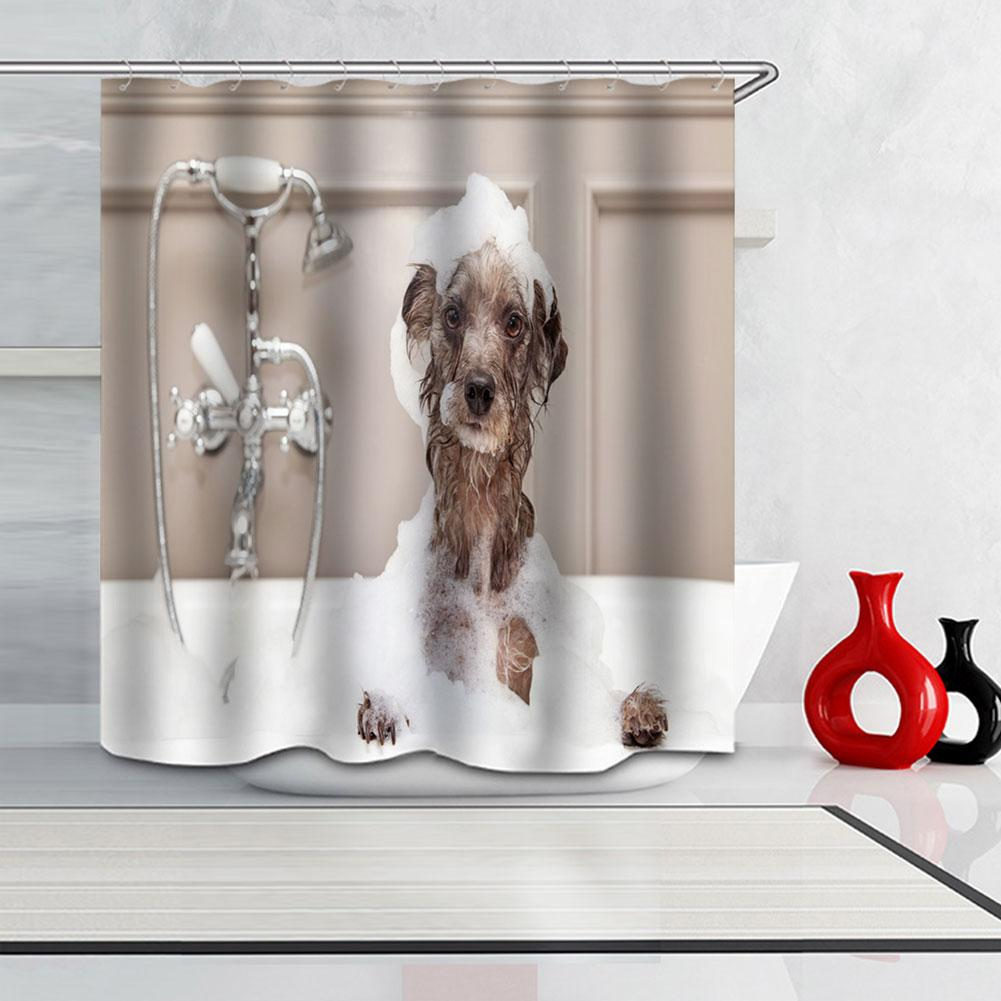 SOLEDI Bath Curtain Decoration Dog Waterproof Bathe Shower Curtain Hooks Decor Bathroom Window Wall Home