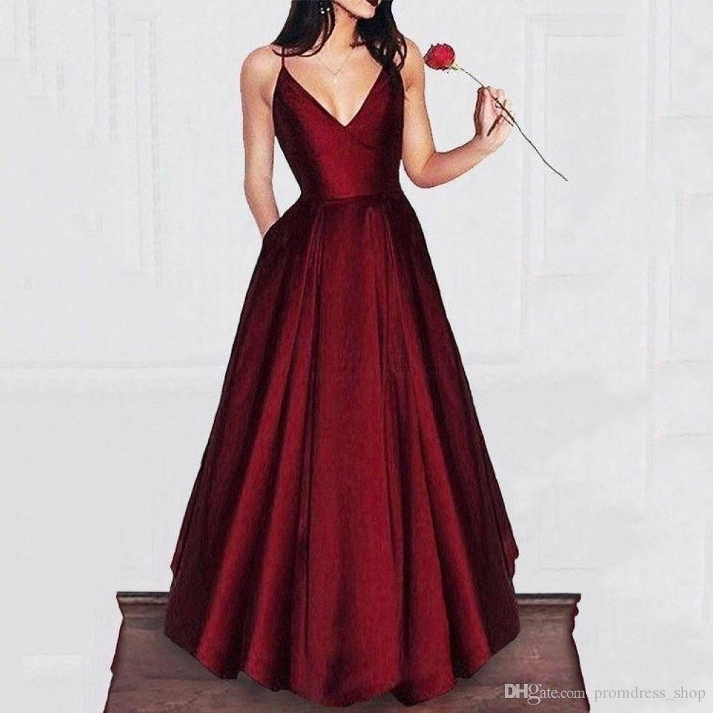 Cheapest 2020 Burgundy Evening Dresses A Line Elegant Women Prom Dresses Spaghetti Straps Satin Party Gowns With Pockets