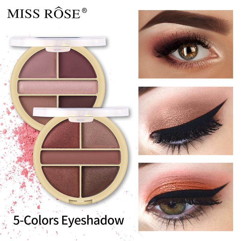Estilo occidental Miss Rose 5 colores Shimmer paleta de sombra de ojos Mate Brillo Ojos Belleza Maquillaje Cosmético Impermeable Caliente