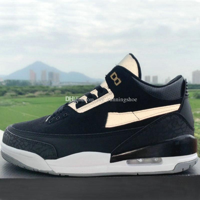 2019 Nueva alta calidad Tinker Black Cement 3M Reflectante resplandor tinker 3 Hombres zapatos de baloncesto Metallic Gold Hatfield 3s Sliver argente