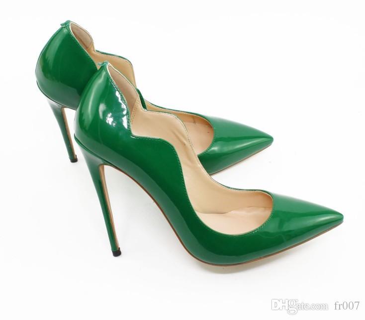 Tacchi Donne 12 centimetri Designer Red Bottoms pompa gli alti tacchi neri a punta Nude rosso rotondo vestito inferiori scarpe da sposa 35-44