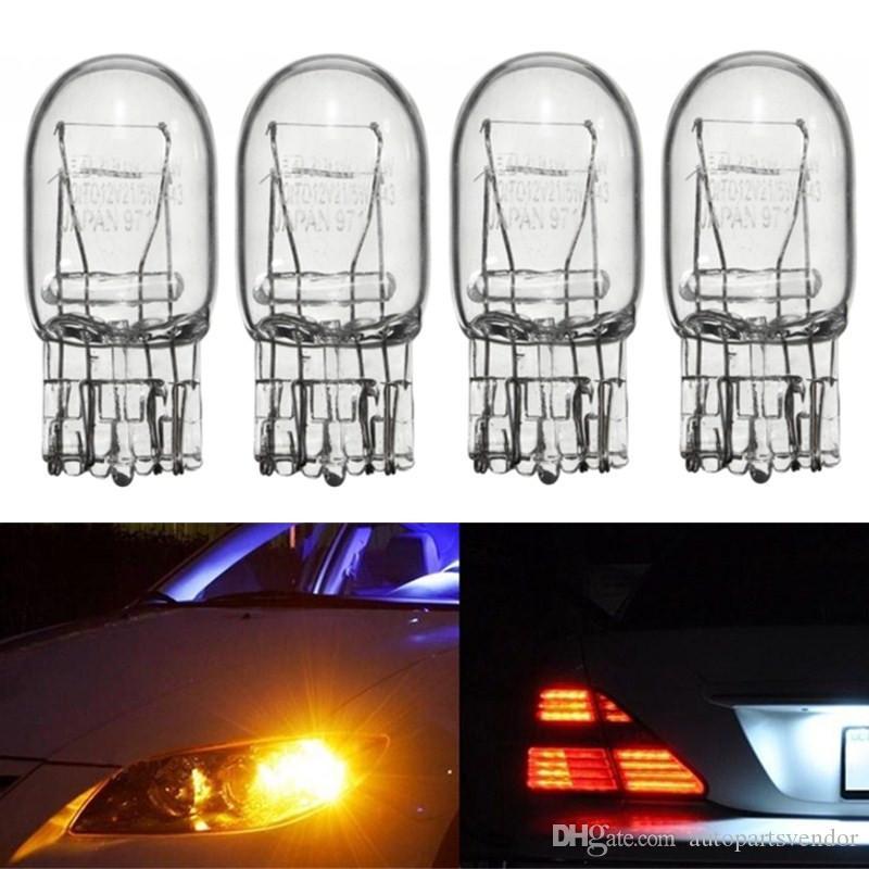 4pcs T20 7443 7440 21 / 5W DRL doble bombilla halógena Borrar engranaje de cristal luces de circulación diurna Girar la parada del freno de la cola del bulbo de los bulbos DRL