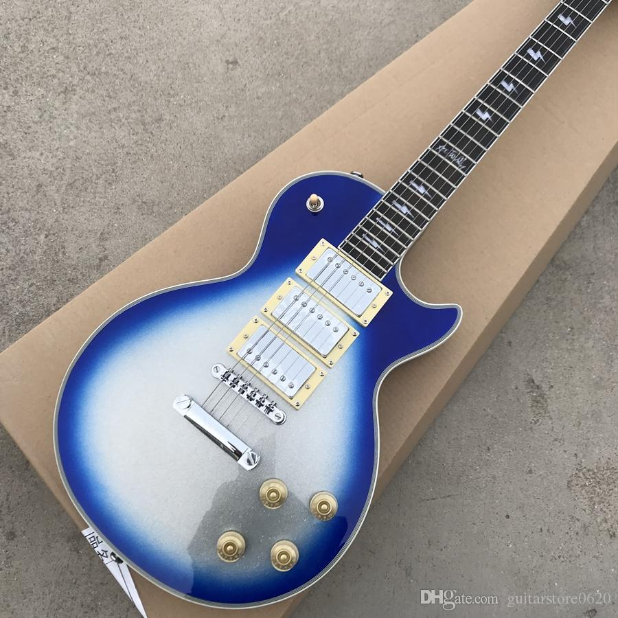Ace Frehley Signature Electric Guitar Blue Burst Silver Sparkle Finish Mahogany Body Ebony Fingerboard 3 Pickups free shipping