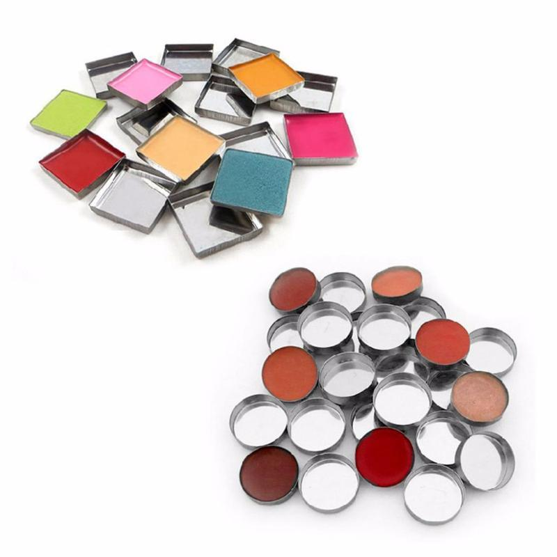 OOTDTY 10 Pcs New 3 Size Empty Magnetic For Eye Eyeshadow Shadow Makeup Powder Fundation Refill Palette Silver
