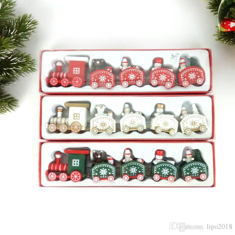 عيد الميلاد جديد قطار رسمت الخشب عيد الميلاد الديكور للمنازل مع سانتا / دب عيد الميلاد ألعاب طفل هدية زخرفة نيفيداد العام الجديد هدية
