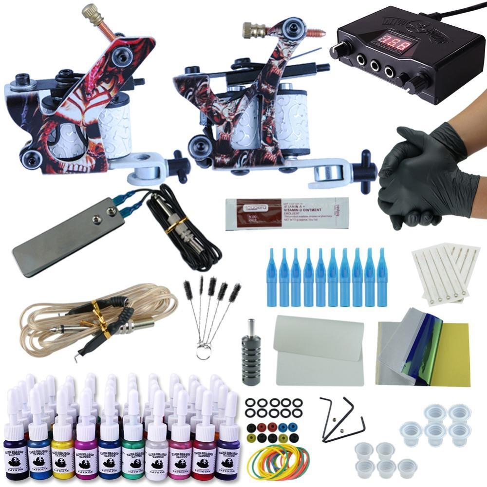 전체 문신 키트 2 기계 설정 전원 공급 바늘 영구 바디 페인팅 위로 전문 문신 세트 40Pc 잉크 확인