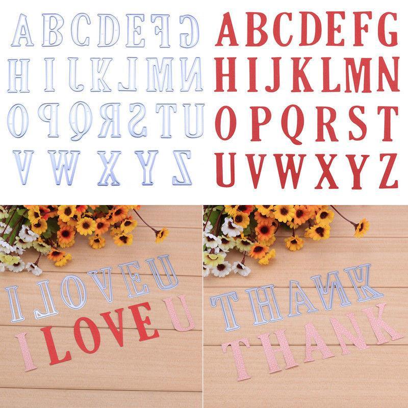 26pcs / Set 5CM lettres Alphabet bricolage coupe Métal Dies Stencil Scrapbook Carte Album embosser Craf bricolage carte papier Décor Artisanat