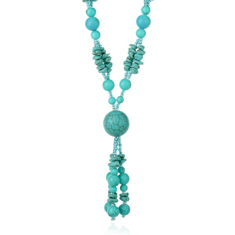 Tassels Long Sweater Chain Necklace Pendant turquoise Bohemian Style for Women