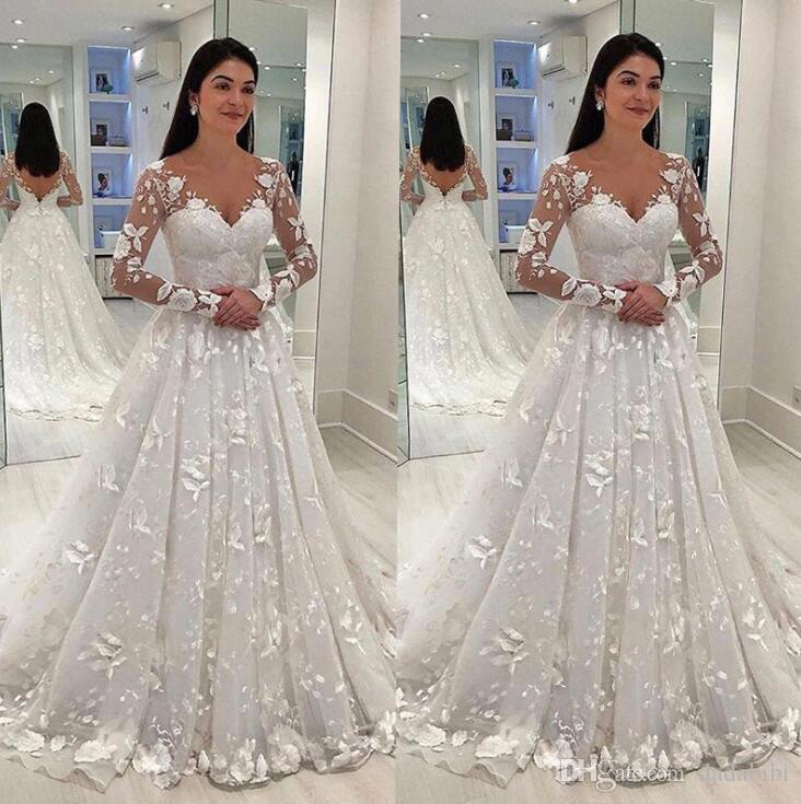 Sexy Frauen Brautkleid-weiße Spitze lange Kleid mit tiefer V-Ausschnitt mit langen Mesh-Spitze-Hülsen-A-Linie Plissee bodenlangen Kleider