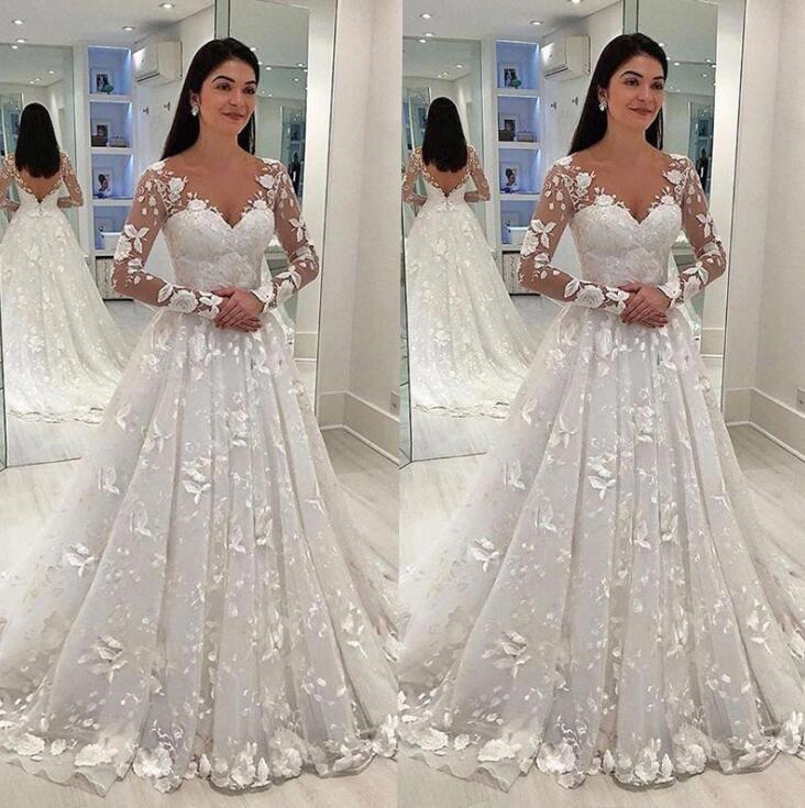 Сексуальные женщины свадебное платье белого кружева длинное платье Глубокий V-образный вырез Длинные Mesh кружева рукава-линии Плиссированные длиной до пола, платья