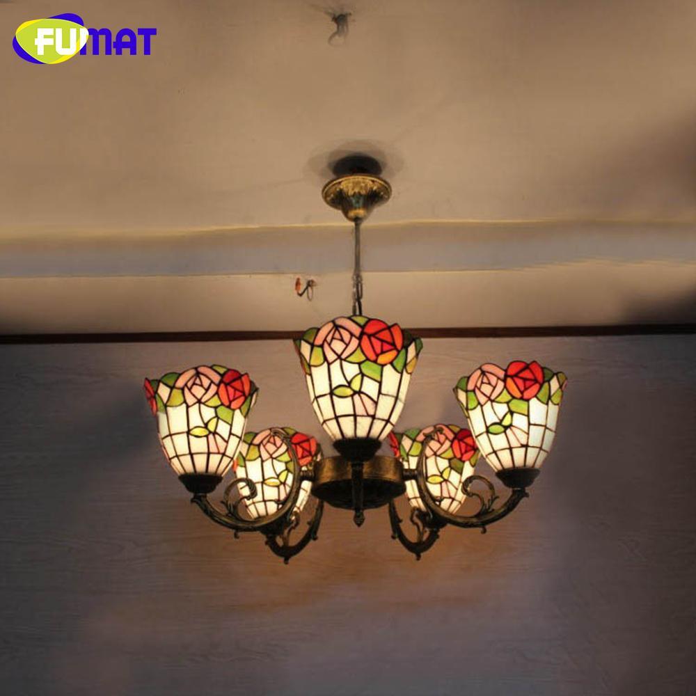 FUMAT 샹들리에 장미 꽃 샹들리에 유럽 빈티지 유리 광택 led 라이트 램프 바 레스토랑 거실 주방