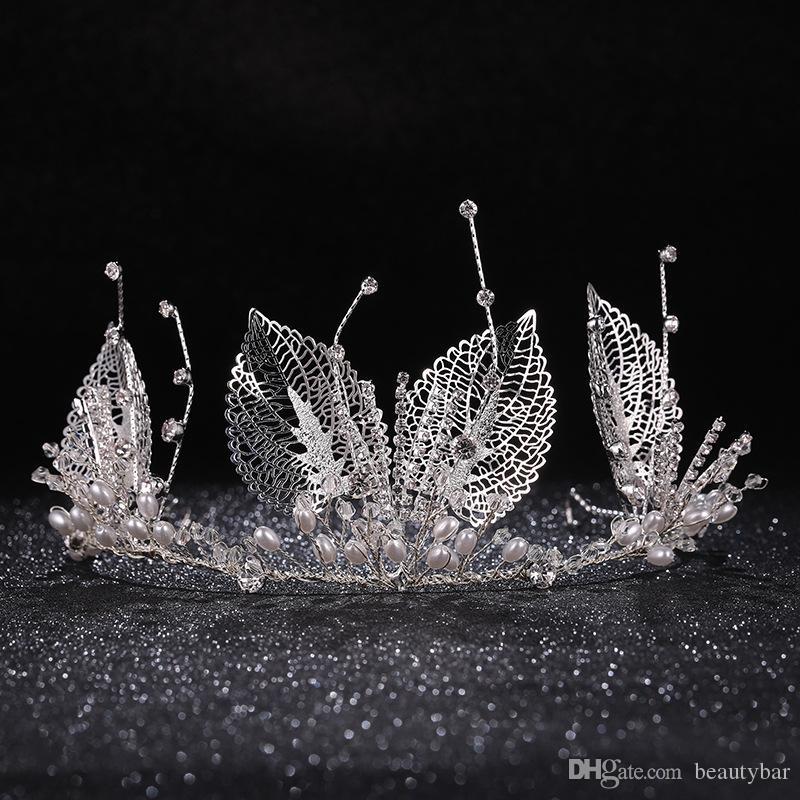 Las vendas de novia Himstory Romatic cristalino hecho a mano hoja de la perla blanca de la boda tiaras Corona mujeres novia de Hairbands Accesorio para el pelo