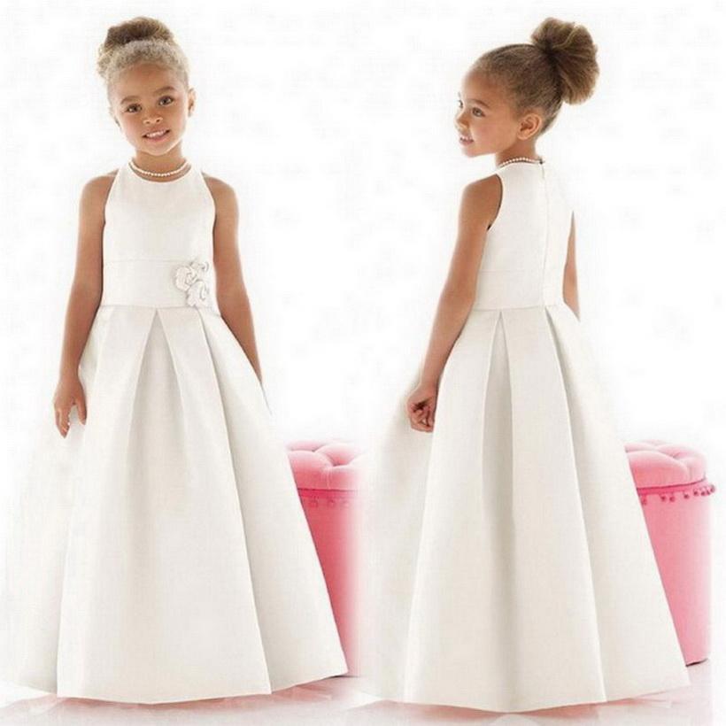 2020 Nouvelle arrivée Communion personnalisé robe A-ligne robes fille fleur-parole longueur manches en satin 2-14 Âge Livraison gratuite