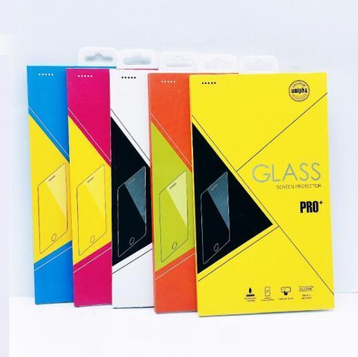 Scatole per imballaggio al dettaglio con bordi colorati Imballaggio per schermo in vetro temperato 9H per iPhone XR XS MAX XS X 8 Plus bordo S7
