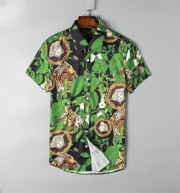 mais novo 2019 moda onda de homens Camisa Xadrez de impressão a cores Mistura luxo casual Harajuku camisas de manga curta dos homens Medusa Shirts # GSDG17