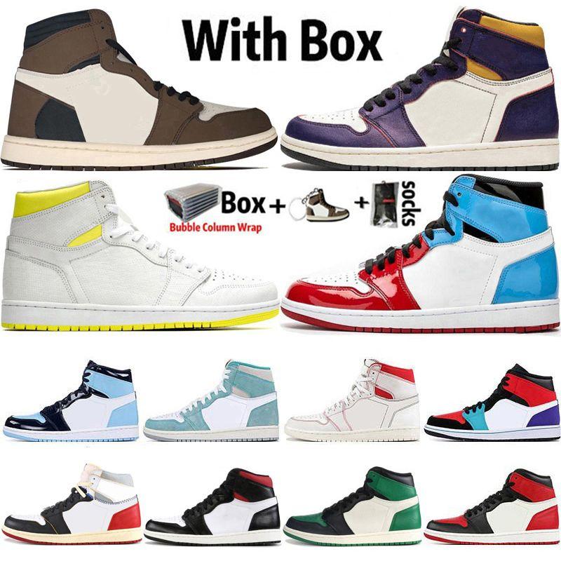 2020 Com Box Jumpman 1 1s Mens tênis de basquete Obsidian UNC Destemido Travis Scotts Turbo verde de Chicago Esportes Formadores Sneakers Tamanho 36-47