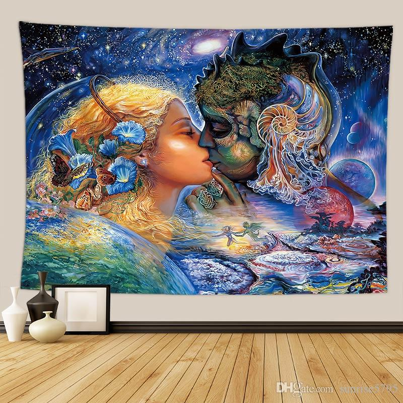 euro fairy tapestry spiritual wall hanging decor psychedelic full size headboard tapiz bedroom bedside tenture mural