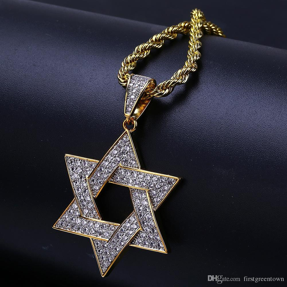 Hexagonal Star with Men's Necklace Star of David Hip-hop Pendant Hot Selling In Europe and America