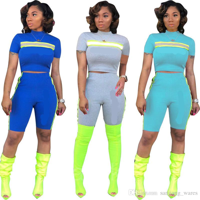 2019 Brand Designer Tracksuit Women Reflective Strip T-Shirt Shorts Pants 2 piece Sportswear Summer Outfit Sports Joggers Clothes Set B3111