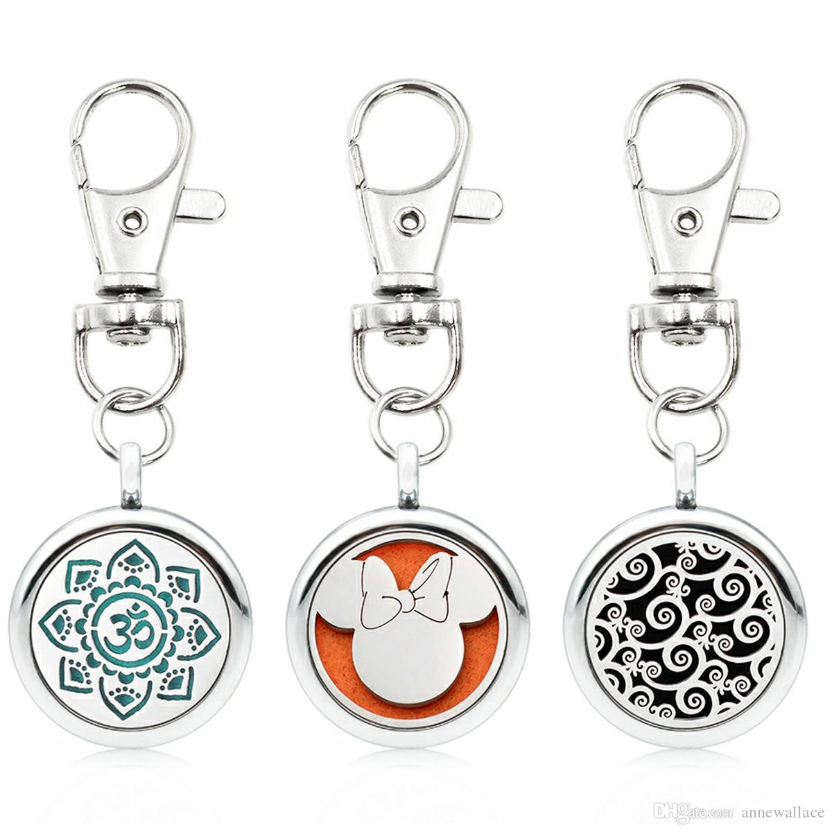 Peacock wolf cat Silver Essential Oil Diffuser Keychain small lobster DIY 25mm Aroma Locket Key Ring fit pet collar 5pcs pads